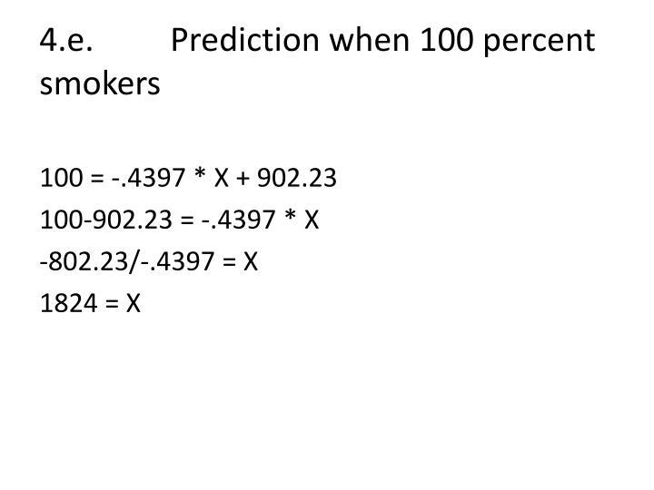 4.e.Prediction when 100 percent smokers