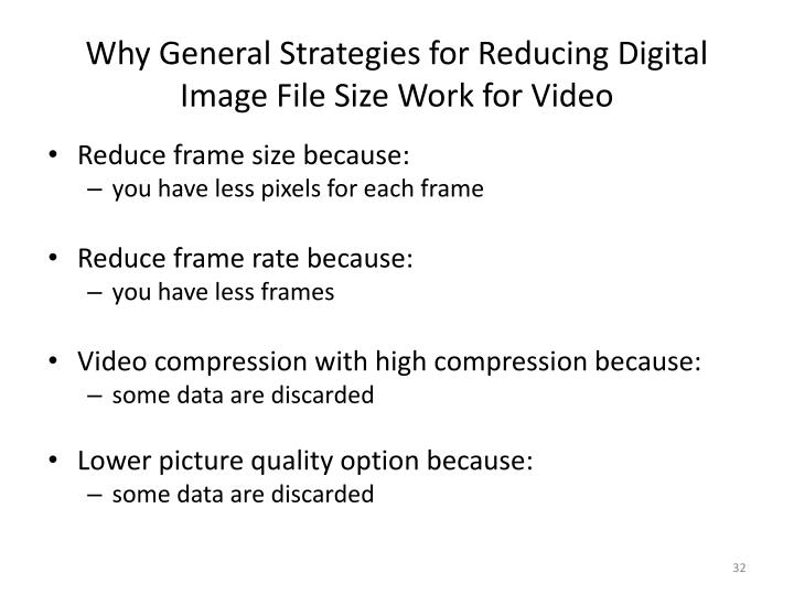 Why General Strategies for Reducing Digital Image File Size Work for Video