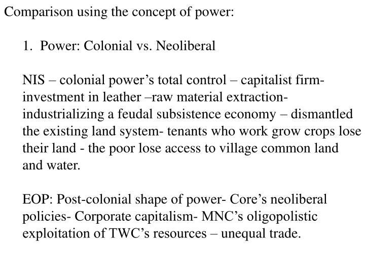 Comparison using the concept of power: