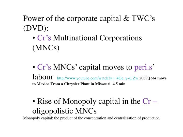 Power of the corporate capital &