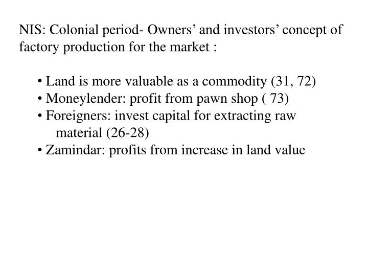 NIS: Colonial period- Owners
