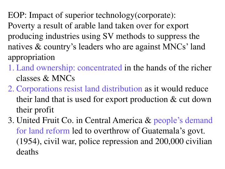 EOP: Impact of superior technology(corporate):