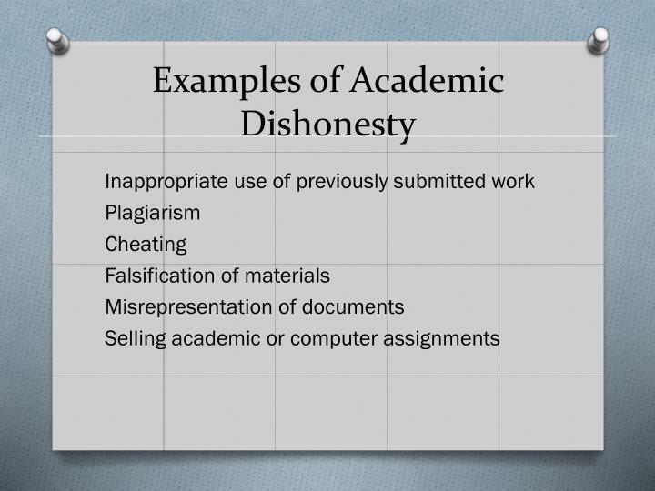 Examples of Academic Dishonesty