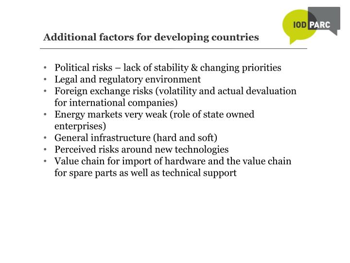 Additional factors for developing countries