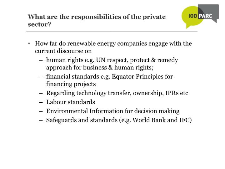 What are the responsibilities of the private sector?