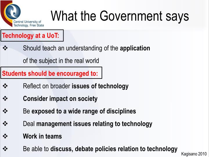 What the Government says