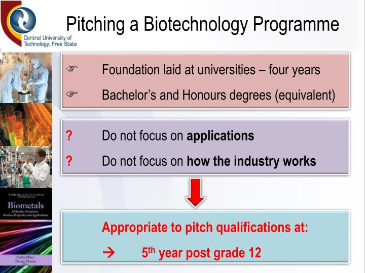 Pitching a Biotechnology Programme