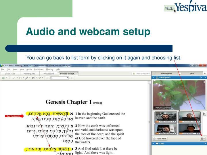Audio and webcam setup