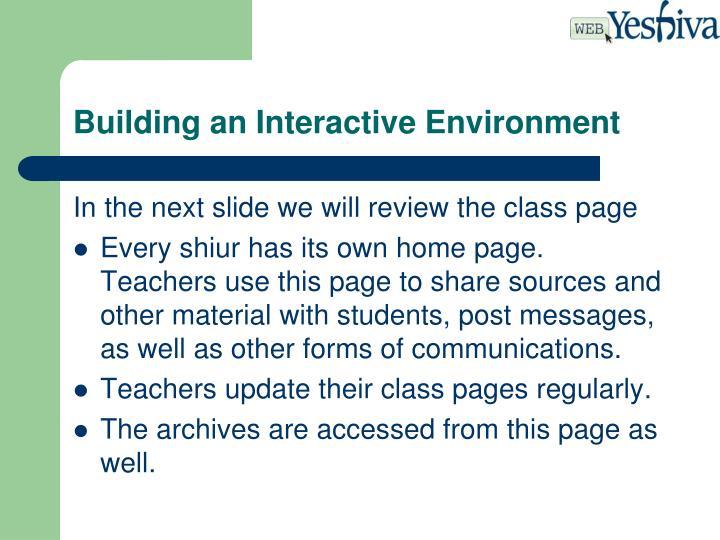 Building an Interactive Environment