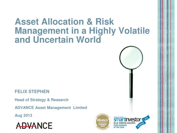 asset allocation risk management in a highly volatile and uncertain world n.