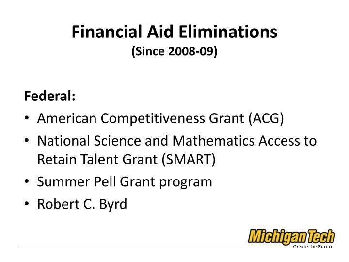 Financial Aid Eliminations