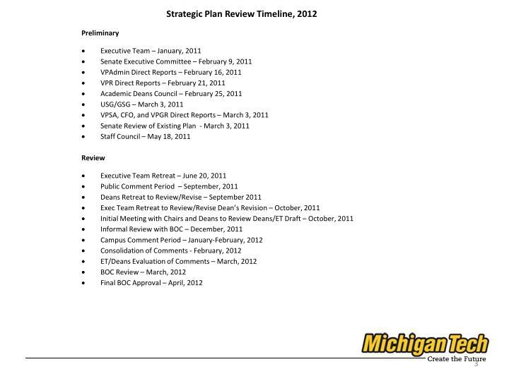 Strategic Plan Review Timeline, 2012