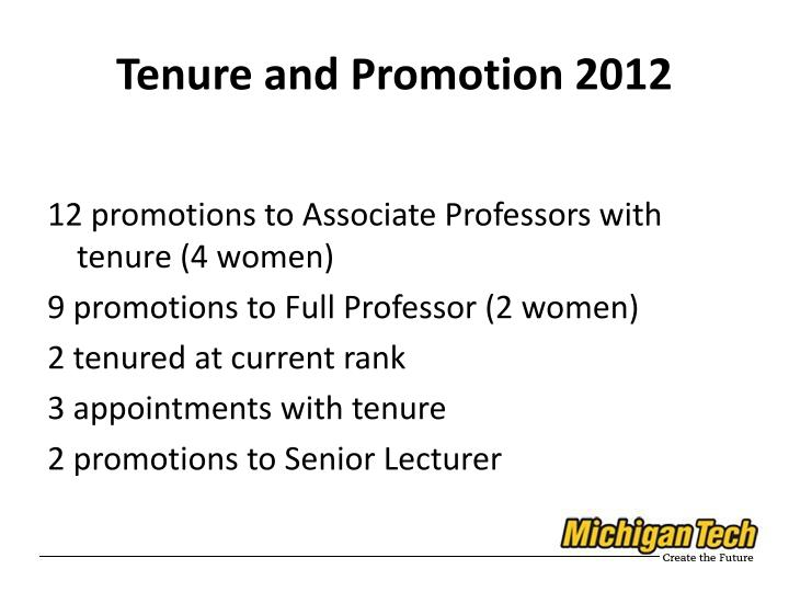 Tenure and Promotion 2012