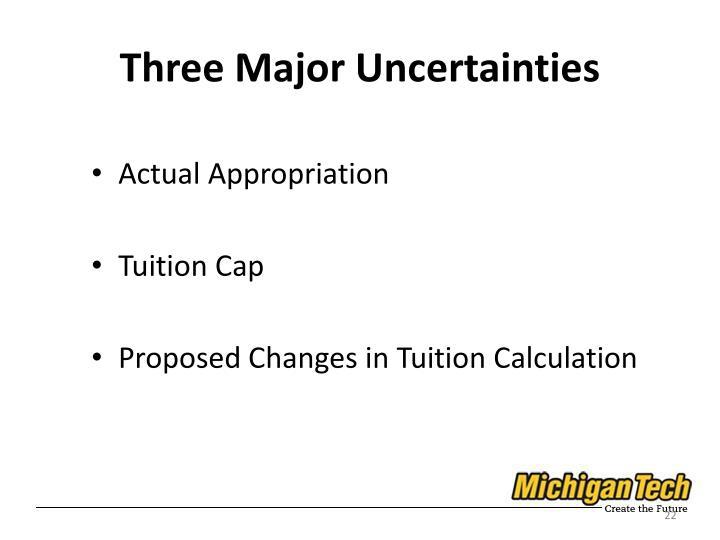 Three Major Uncertainties