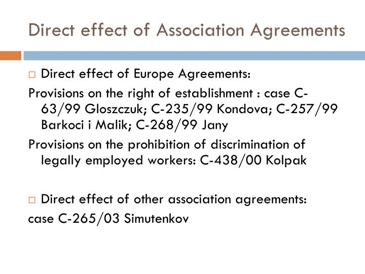 Direct effect of Association Agreements