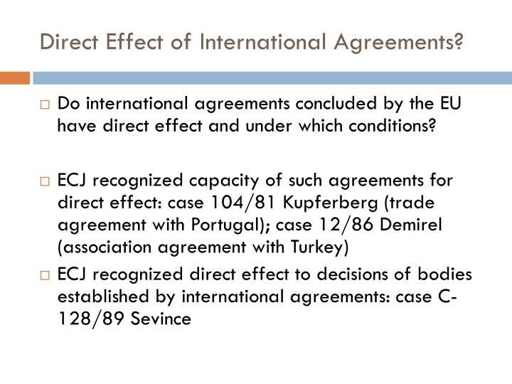 Direct effect of internationa l agreements
