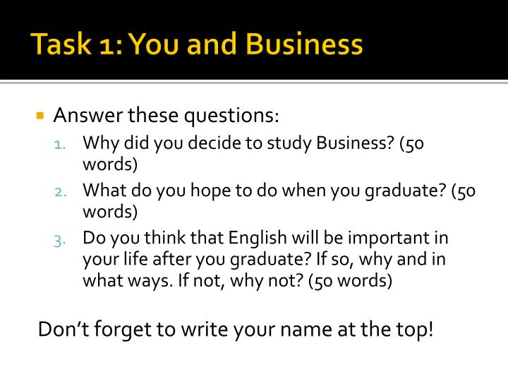 Task 1: You and Business