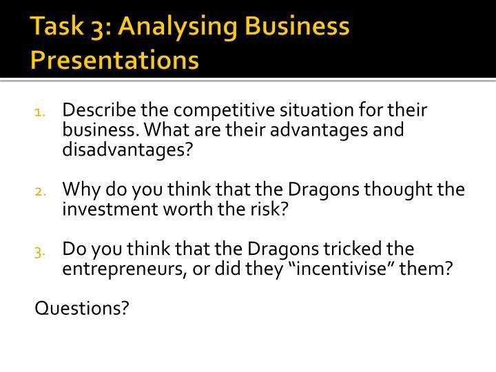 Task 3: Analysing Business Presentations