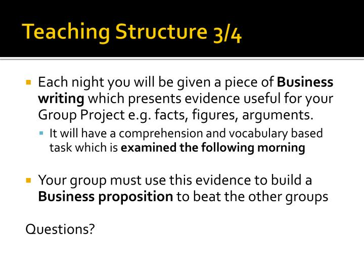 Teaching Structure 3/4