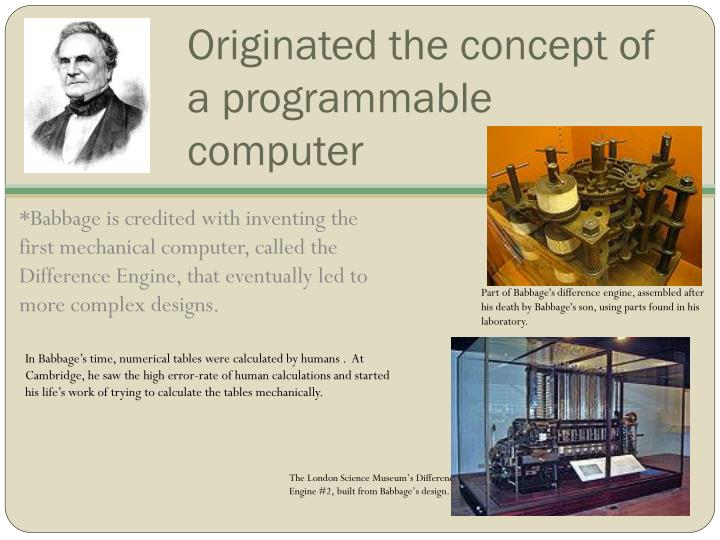 Originated the concept of a programmable computer