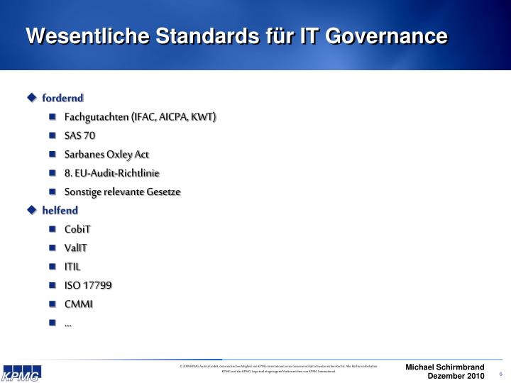 Wesentliche Standards für IT Governance