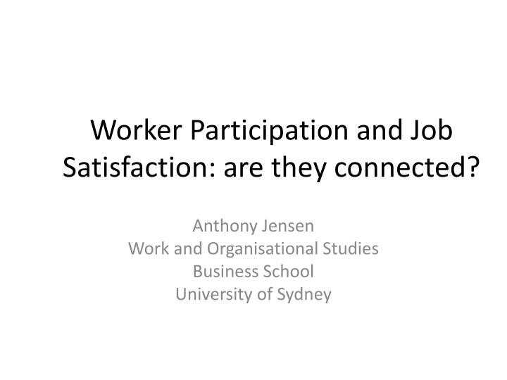 worker participation and job satisfaction are they connected n.