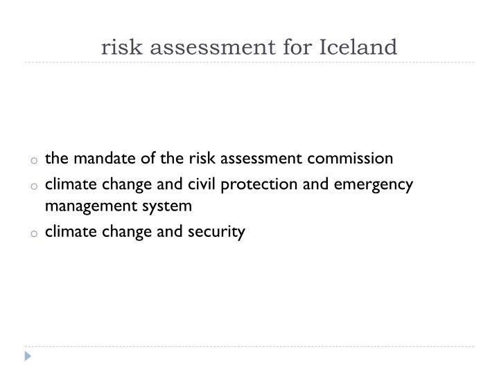 risk assessment for Iceland