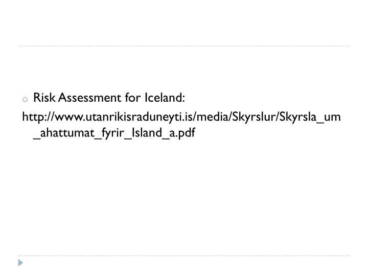 Risk Assessment for Iceland: