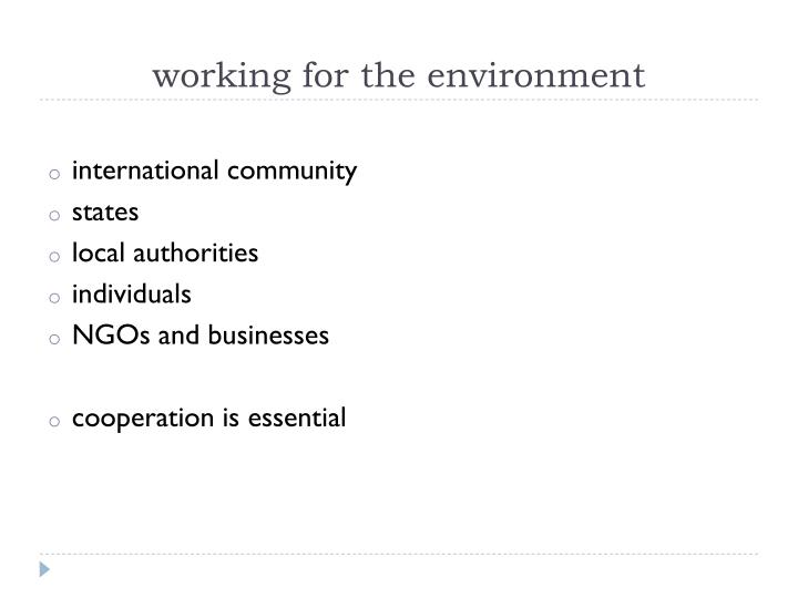 working for the environment