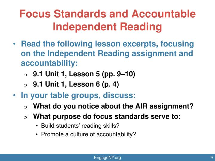 Focus Standards and Accountable Independent Reading