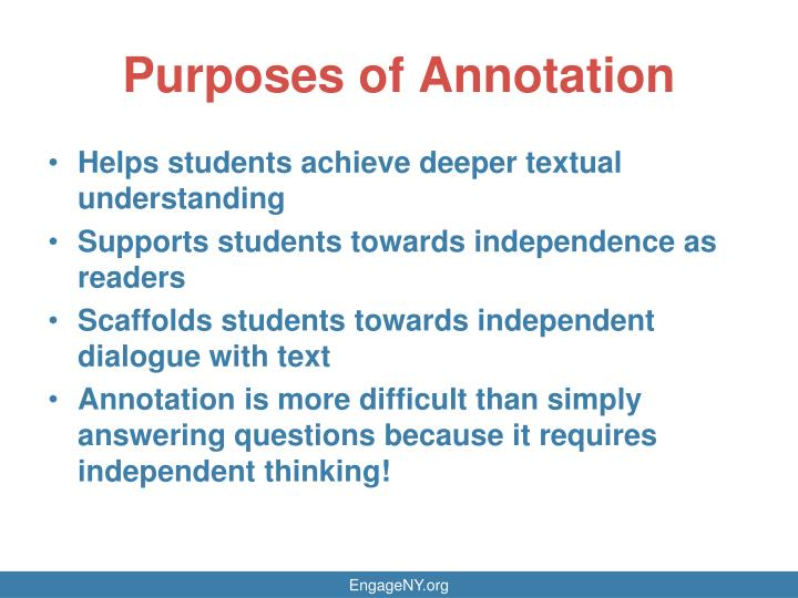 Purposes of Annotation