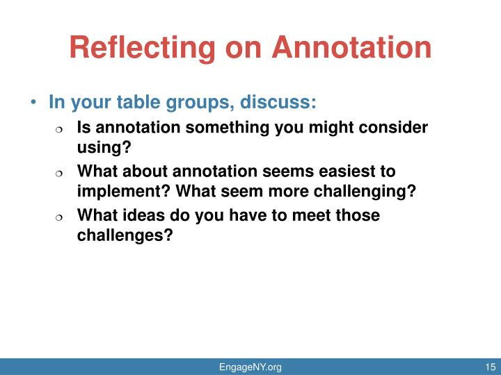 Reflecting on Annotation