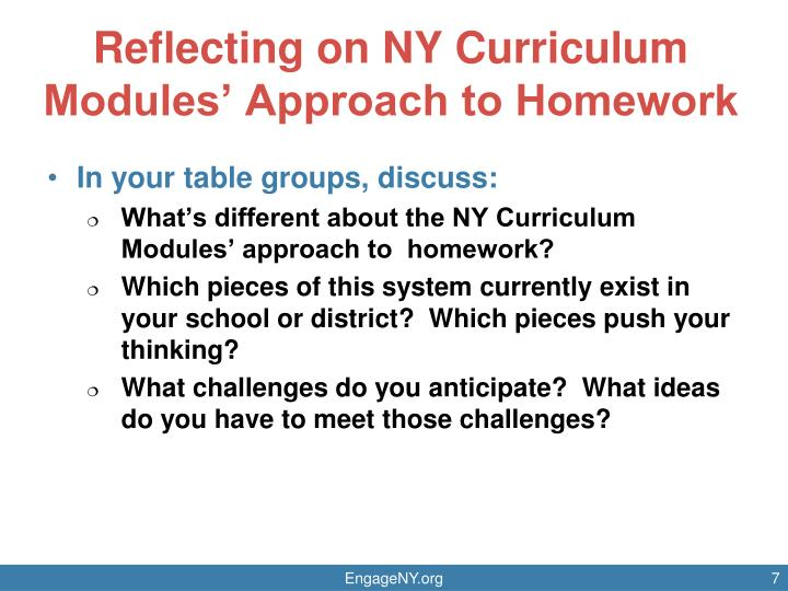 Reflecting on NY Curriculum Modules' Approach to Homework