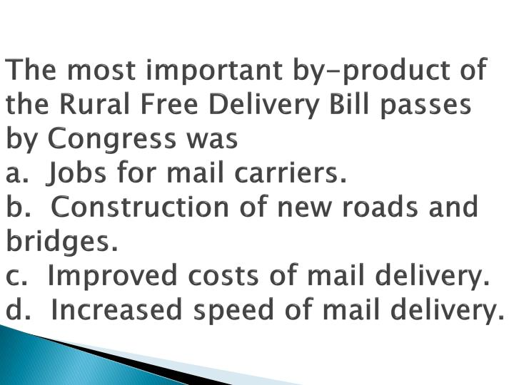 The most important by-product of the Rural Free Delivery Bill passes by Congress was