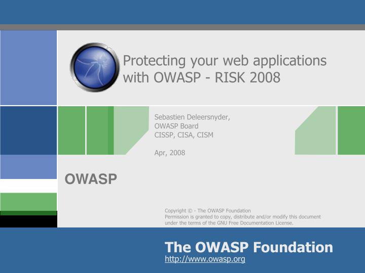 protecting your web applications with owasp risk 2008 n.