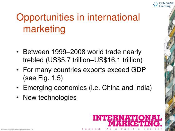 Between 1999–2008 world trade nearly trebled (US$5.7 trillion–US$16.1 trillion)