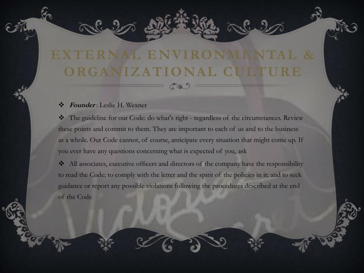 External environmental organizational culture
