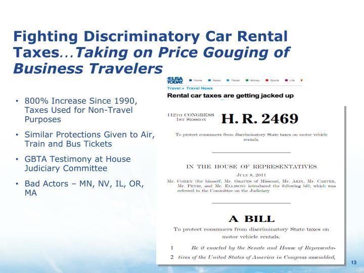 Fighting Discriminatory Car Rental Taxes