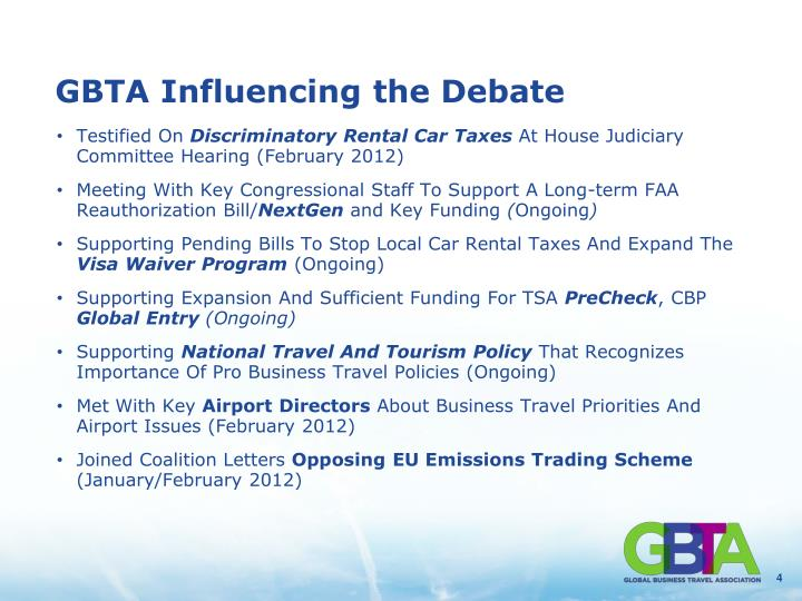 GBTA Influencing the Debate