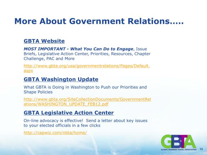 More About Government Relations…..