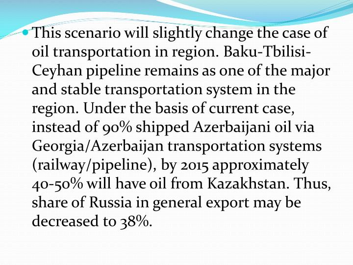 This scenario will slightly change the case of oil transportation in region. Baku-Tbilisi-