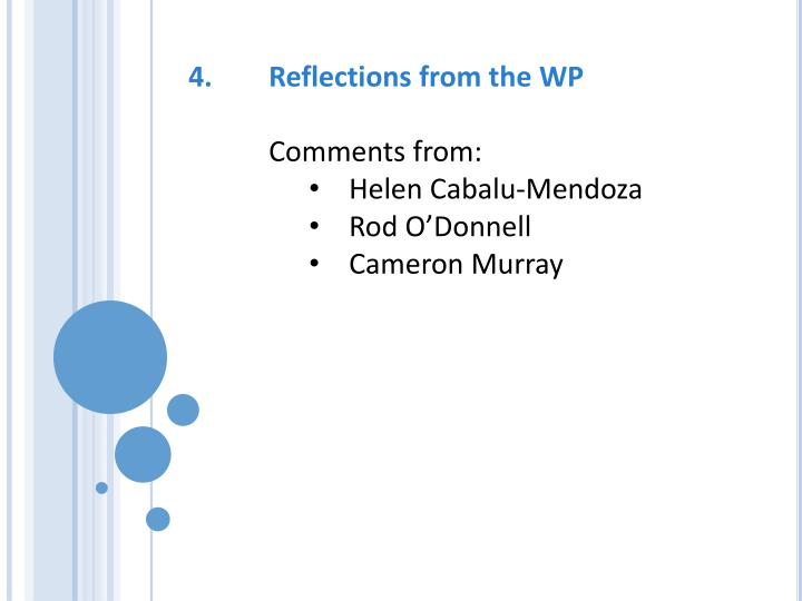 4.	Reflections from the WP