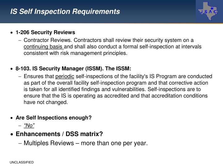 IS Self Inspection Requirements