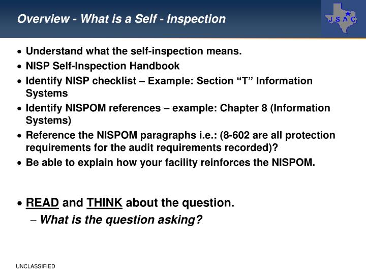 Overview - What is a Self - Inspection