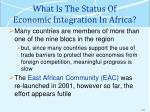 what is the status of economic integration in africa