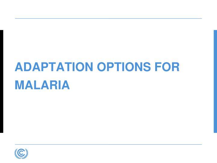 Adaptation Options for Malaria
