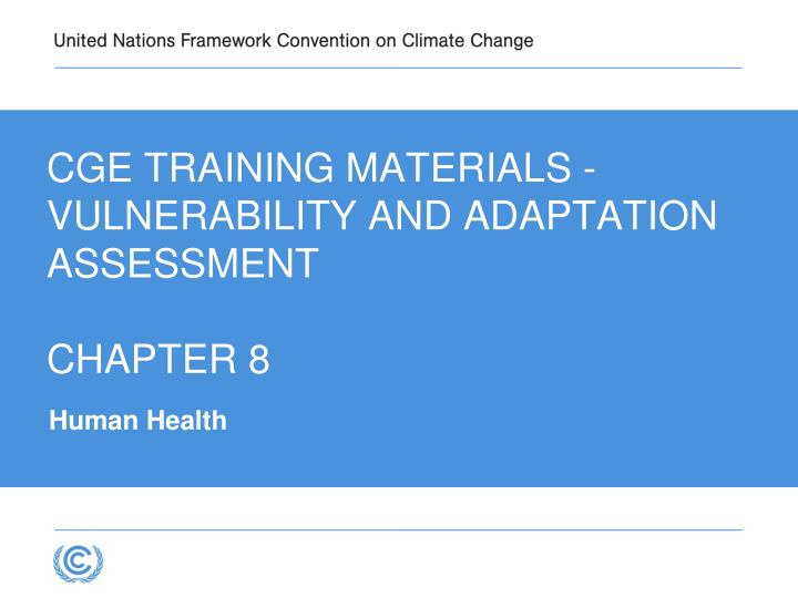 Cge training materials vulnerability and adaptation assessment chapter 8