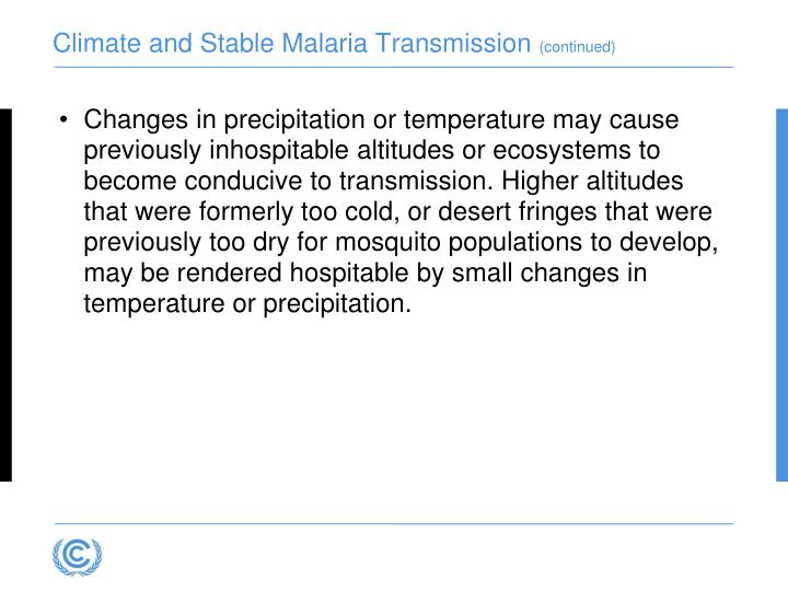 Climate and Stable Malaria Transmission