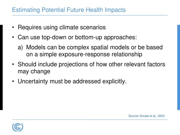 Estimating Potential Future Health Impacts
