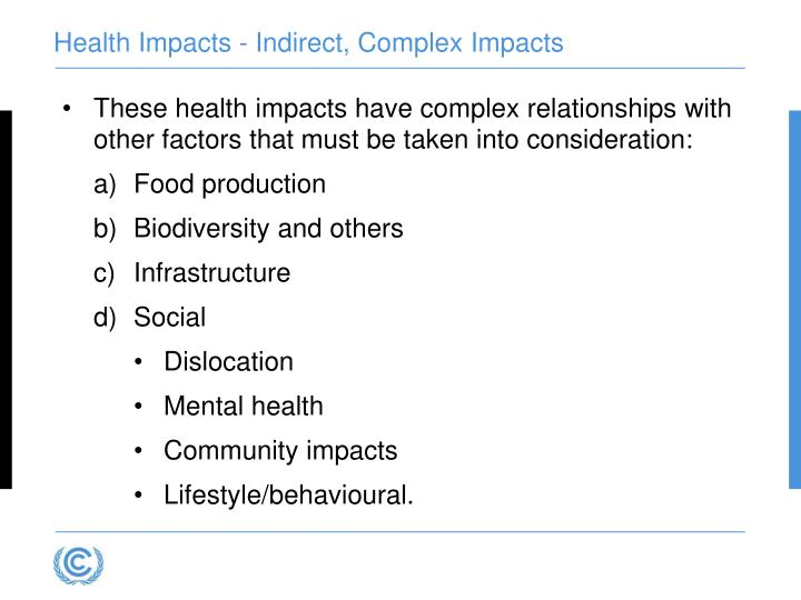 Health Impacts - Indirect, Complex